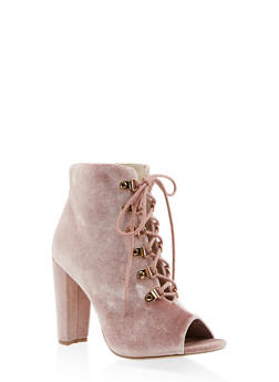 Lace Up High Heel Booties - BLUSH - 3113073493562