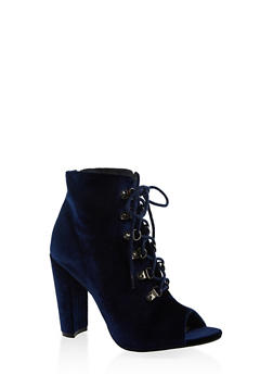 Lace Up High Heel Booties - BLUE - 3113073493562