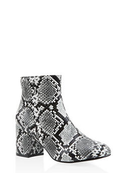 Printed Block Heel Booties - 3113073493567