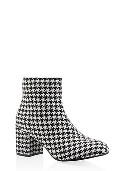 Printed Block Heel Booties - BLACK MULTI - 3113073493567