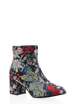 Printed Block Heel Booties - MULTI COLOR - 3113073493567