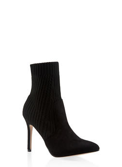 Pointed Toe Knit High Heel Booties - BLACK - 3113073493667
