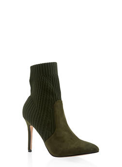 Pointed Toe Knit High Heel Booties - OLIVE - 3113073493667