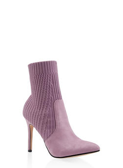 Pointed Toe Knit High Heel Booties - LAVENDER - 3113073493667