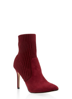 Pointed Toe Knit High Heel Booties - WINE - 3113073493667