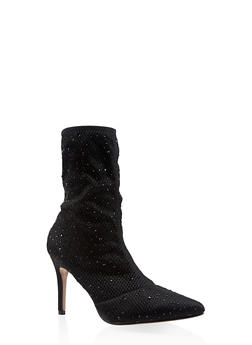 Rhinestone Studded Knit High Heel Booties - 3113073495626