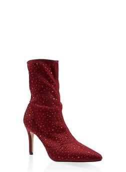 Rhinestone Studded Knit High Heel Booties - 3113073495626