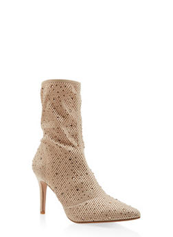 Rhinestone Studded Knit High Heel Booties - GOLD - 3113073495626