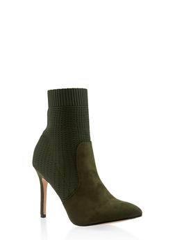 Pointed Toe Knit High Heel Booties - OLIVE - 3113073495628