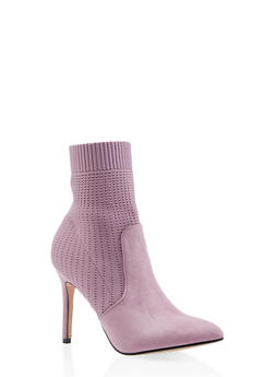 Pointed Toe Knit High Heel Booties - MAUVE - 3113073495628