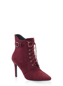Lace Up High Heel Booties - WINE - 3113073541008