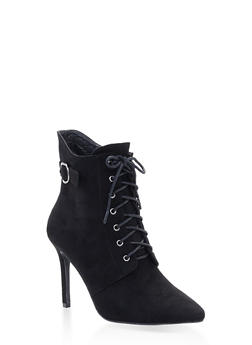 Lace Up High Heel Booties - BLACK SUEDE - 3113073541008