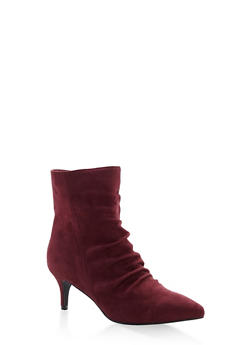 Ruched Pointed Toe Booties - WINE - 3113073541010