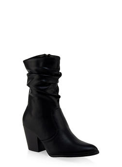 Scrunched Pointed Toe Booties - 3113073541044