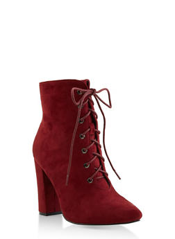 Pointed Toe Lace Up High Heel Booties - 3113073541045
