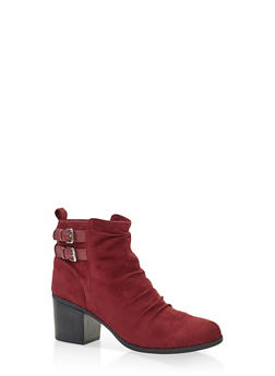Ruched Buckle Booties - WINE - 3113074708677