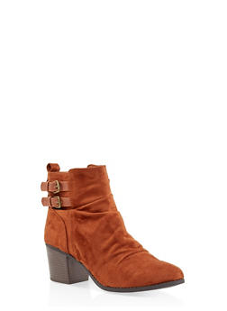 Ruched Buckle Booties - 3113074708677