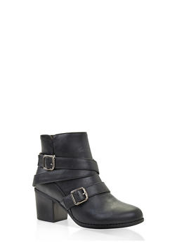 Buckle Strap Block Heel Booties - BLACK - 3113074708748