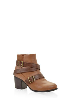 Buckle Strap Block Heel Booties - CHESTNUT - 3113074708748