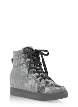 Crushed Velvet High Top Wedge Sneakers - 3114004062624