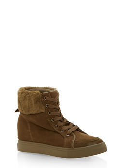 Faux Fur Lined High Top Wedge Sneakers - OLIVE F/S - 3114004062625