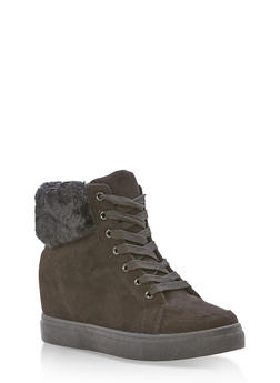 Faux Fur Lined High Top Wedge Sneakers - BLACK F/S - 3114004062625