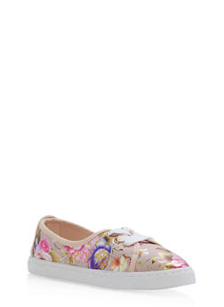 Lace Up Skimmer Sneakers - BLUSH - 3114004062885