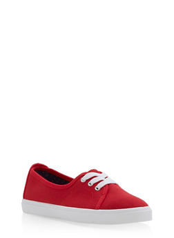 Lace Up Canvas Skimmer Sneakers - RED - 3114004062886