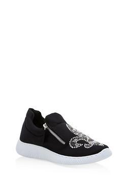 Satin Fleur De Lis Jeweled Sneakers - 3114004063683