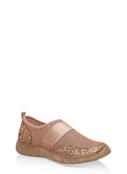 Stretch Slip On Sneakers with Elastic Band - ROSE GOLD FABRIC - 3114004063684