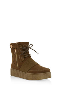 High Top Side Snap Faux Suede Creeper Boots - OLIVE F/S - 3114004064860