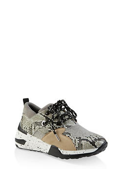 Speckled Sole Lace Up Sneakers - GRAY - 3114004067876