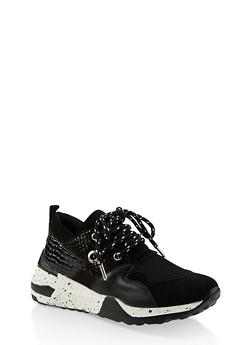 Speckled Sole Lace Up Sneakers - BLACK MULTI - 3114004067876