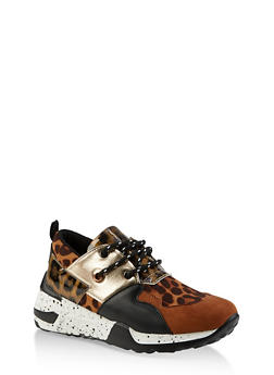 Speckled Sole Lace Up Sneakers - LEOPARD PRINT - 3114004067876