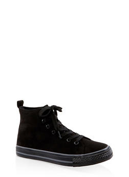 Lace Up High Top Sneakers - BLACK SUEDE - 3114004068463