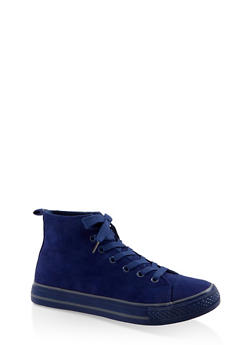 Lace Up High Top Sneakers - NAVY S - 3114004068463