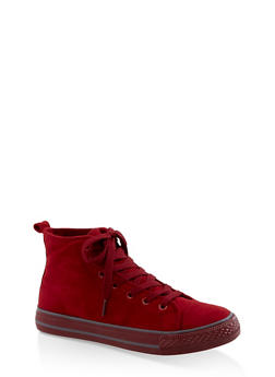 Lace Up High Top Sneakers - RED S - 3114004068463