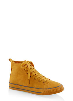 Lace Up High Top Sneakers - YELLOW S - 3114004068463