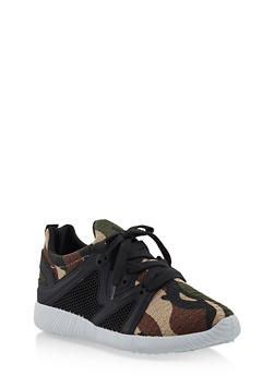 Knit Lace Up Sneakers | 3114029916222 - CAMOUFLAGE - 3114029916222