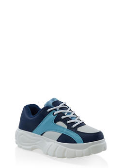 Platform Lace Up Sneakers - BABY BLUE - 3114049542833