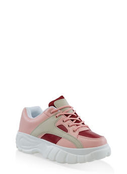 Platform Lace Up Sneakers - 3114049542833