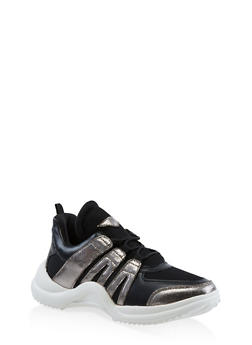 Color Blocked Lace Up Sneakers - BLACK - 3114049548729