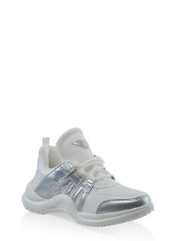 Color Blocked Lace Up Sneakers - WHITE - 3114049548729