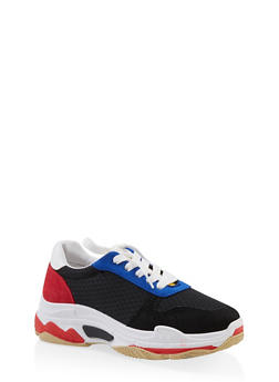 Multi Color Lace Up Sneakers - BLACK - 3114053875423