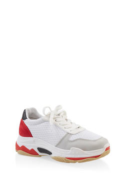 Multi Color Lace Up Sneakers - WHITE - 3114053875423