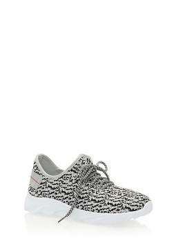 Textured Knit White Sole Sneakers - 3114056637294