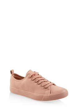 Faux Leather Lace Up Tennis Sneakers - BLUSH - 3114062720301