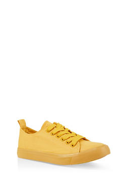 Lace Up Canvas Sneakers - YELLOW - 3114062720305