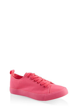 Lace Up Canvas Sneakers - NEON PINK - 3114062720305