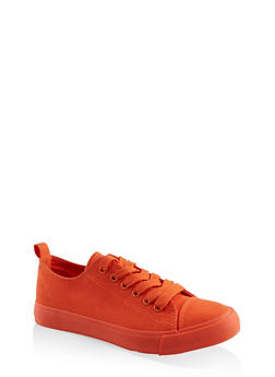 Lace Up Canvas Sneakers - NEON ORANGE - 3114062720305